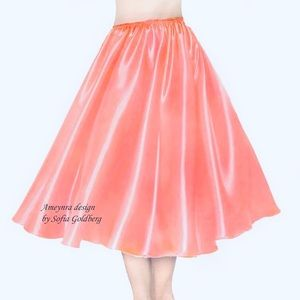 Coral Pink Satin Skirt Mod-Calf New All Sizes